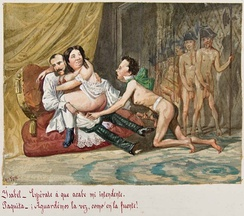 Francis, King Consort of Spain (right) masturbating while his wife, Isabella II, engages in sexual relationships with Carlos Marfori, her Overseas Minister. Satirical caricature by Bécquer, 1868