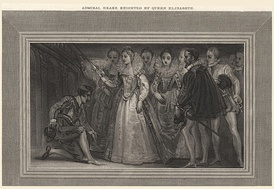 Francis Drake (left) being knighted by  Queen Elizabeth I in 1581. The recipient is tapped on each shoulder with a sword.