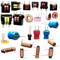 A variety of types of ferrite core inductors and transformers