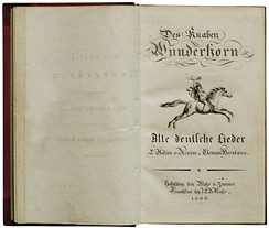 Title page of Des Knaben Wunderhorn, 1806, a major influence on Eichendorff's poetry