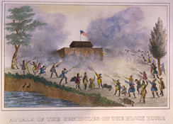 Attack of the Seminoles on the blockhouse in December 1835