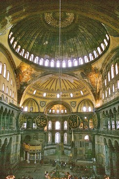Interior view of the Hagia Sophia, currently a museum.