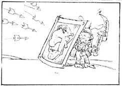 Cartoon depicting Shapour Bakhtiar and Mosaddegh in 22 January 1978 issue of Ettela'at, during the revolution