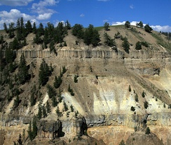 Columnar basalt flows in Yellowstone National Park, USA