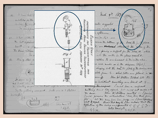 Excerpts from Elisha Gray's patent caveat of February 14 and Alexander Graham Bell's lab notebook entry of March 9, demonstrating their similarity.