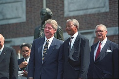 Mandela with US President Bill Clinton. Despite publicly criticising him on several occasions, Mandela liked Clinton, and personally supported him during his impeachment proceedings.[292]