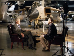 Bill O'Reilly interviews former President George W. Bush for The O'Reilly Factor at the Air Force Museum, November 11, 2010