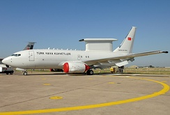 A Boeing 737 AEW&C Peace Eagle (foreground) and the tailfin of a Boeing KC-135R Stratotanker (background) of the Turkish Air Force.
