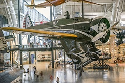 P-26A 33-135 on display in the 1934 markings of the 34th Pursuit Squadron, 17th PG, at the National Air And Space Museum′s Steven F. Udvar-Hazy Center at Washington Dulles International Airport in the Chantilly area of Fairfax County, Virginia.