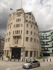 The nautical-style rounded corner of BBC Broadcasting House (1931)
