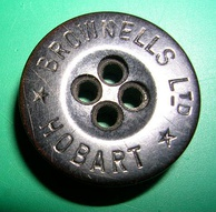 Vintage tailor's button from Hobart, Tasmania