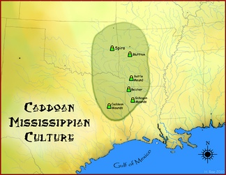 Map of the Caddoan Mississippian culture and some important sites, including the Battle Mound Site