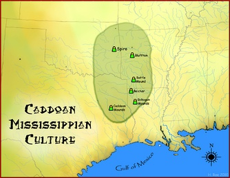 Map of the Caddoan Mississippian culture and some important sites