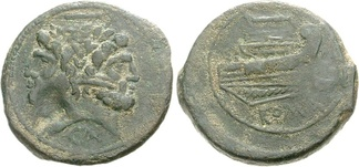 A bronze as from Canusium depicting a laureate Janus with the prow of a ship on the reverse