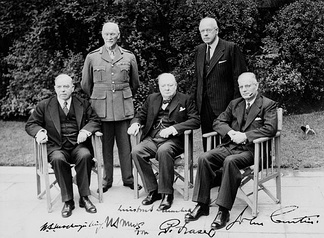 The heads of government of five members of the Commonwealth of Nations at the 1944 Commonwealth Prime Ministers' Conference. From left to right, Mackenzie King (Canada), Jan Smuts (South Africa), Winston Churchill (United Kingdom), Peter Fraser (New Zealand), and John Curtin (Australia).