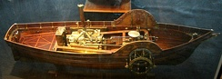 Model made by de Jouffroy in 1784 to show the French Science Academy the engine and paddle wheels used on Pyroscaphe: The model is now in the National Maritime Museum in Paris.[8]