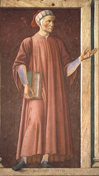 Mural of Dante in the Uffizi, Florence, by Andrea del Castagno, c. 1450