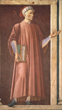 Mural of Dante in the Uffizi Gallery, by Andrea del Castagno, c. 1450