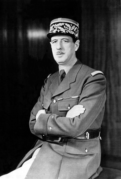 De Gaulle during World War II, wearing the two stars of a général de brigade on his sleeve