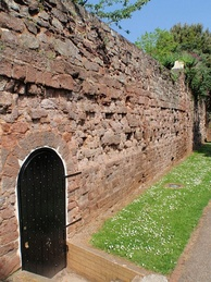 A portion of Exeter's city wall, formed of both Roman and medieval stones.