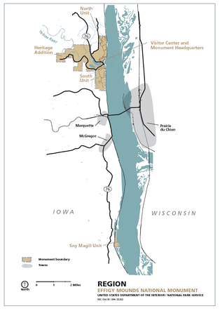 Map of Effigy Mounds National Monument and the surrounding area
