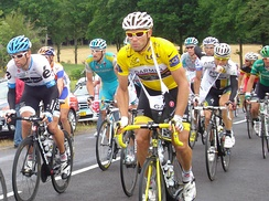 Garmin–Cervélo's Thor Hushovd (pictured in stage eight) wore the race leader's yellow jersey after his team's win in stage two's team time trial until the end of stage eight.