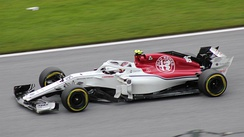 Charles Leclerc driving the Alfa Romeo Sauber F1 Team's Sauber C37 during the 2018 Austrian Grand Prix.