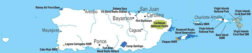 U.S. military installations in Puerto Rico (including the United States Virgin Islands) throughout the 20th century