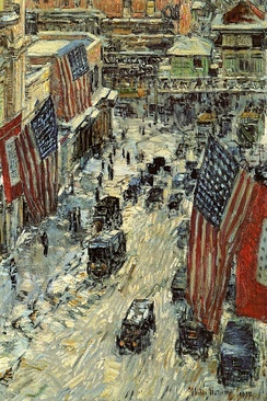 Frederick Childe Hassam, Flags on Fifty-Seventh Street, oil on canvas, 1918, in the New-York Historical Society's collection
