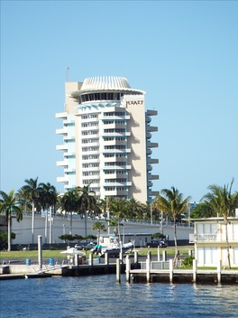 The Hyatt Regency Hotel was built in 1957 and is located at 2301 SE 17th Street in Fort Lauderdale, Florida. The hotel was designed by Richard F. Humble, a follower of Frank Lloyd Wright.