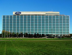 The Ford World Headquarters in Dearborn, also known as the Glass House.