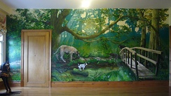 Forest mural by One Red Shoe in private home, England 2007