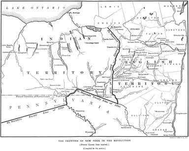 Map from The Old New York Frontier by Francis W. Halsey (1901) showing the author's interpretation of the 1768 Fort Stanwix Treaty line