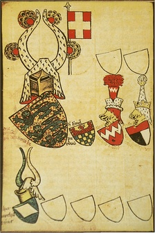 The Danish arms in the Gelre Armorial, 14th century. This is the oldest coloured image of the Dannebrog. The crest was used by Danish monarchs from the 13th century until c. 1420. The flag is not part of the crest.[1]