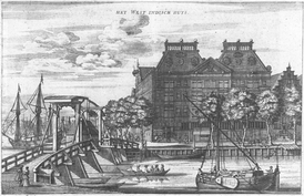 The storehouse of the Dutch West India Company in Amsterdam, built in 1642, became the headquarters of the board in 1647 because of financial difficulties after the loss of Dutch Brazil.