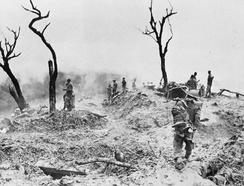 The scene on Scraggy Hill, captured by the 10th Gurkhas during the Battle of Imphal
