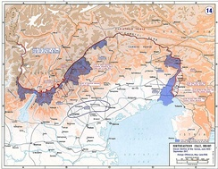Italian Front in 1915–1917: eleven Battles of the Isonzo and Asiago offensive. In blue, initial Italian conquests.