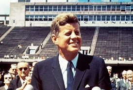 John F. Kennedy speaking at Rice University in Houston on September 12, 1962. Lyndon Johnson can be seen behind him.
