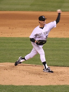 Moyer pitching for the Colorado Rockies in 2012