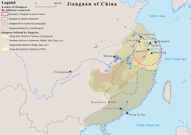 Map showing the extents of Jiangnan region of China by different standards