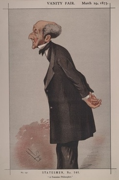 """A Feminine Philosopher"". Caricature by Spy published in Vanity Fair in 1873."