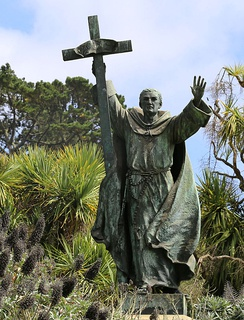 A statue of Serra by Douglas Tilden formerly installed in Golden Gate Park, San Francisco before it was removed during the George Floyd protests.