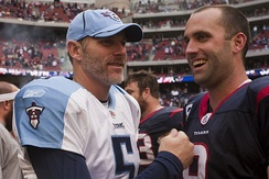 Schaub (right) and Tennessee Titans quarterback Kerry Collins.