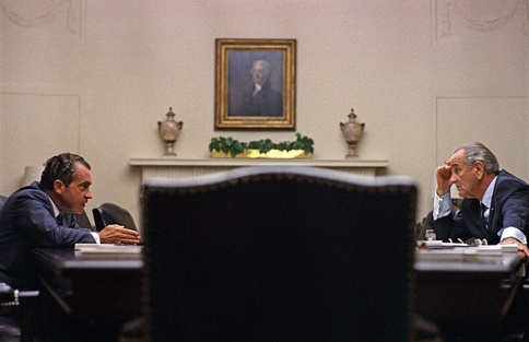 Nixon and Johnson meet at the White House before Nixon's nomination, July 1968.