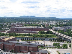 The Amoskeag Mills in West Manchester, New Hampshire, circa 2006.  The massive structure once housed the largest cotton textile manufacturing plant in the world.  Since the late 20th century, it has been rehabilitated for mixed use development.
