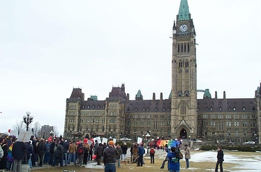 """March of Hearts"" rally for same-sex marriage in Canada on Parliament Hill in Ottawa, March 6, 2004."
