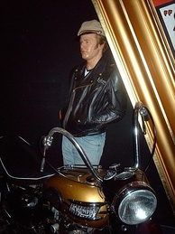 Madame Tussauds waxwork exhibit of Brando in The Wild One albeit with a later 1957/8 model Triumph Thunderbird.