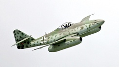 A modern reproduction of the Messerschmitt Me 262 in flight in 2006. The first two operational turbojet aircraft, the Me 262 and then the Gloster Meteor entered service in 1944.