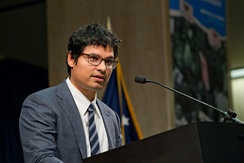 Michael Peña was master-of-ceremonies at the induction of the Farm Worker Movement into the Labor Hall of Fame and dedication of the Cesar E. Chávez Memorial Auditorium at the U.S. Department of Labor in March 2012.
