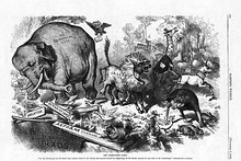 1874 Nast cartoon featuring the first notable appearance of the Republican elephant[126]